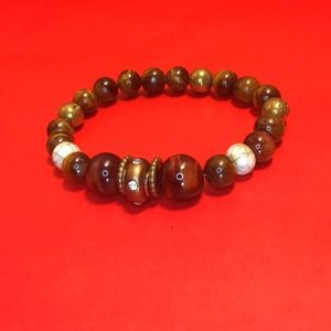 Brown tiger bead, white marble, gold bead bracelet
